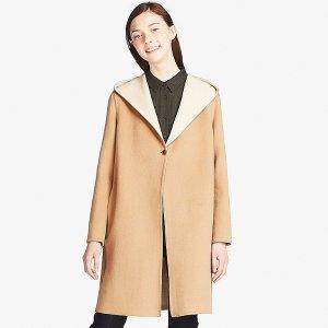 羊毛连帽大衣