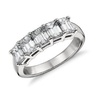 Classic Emerald Cut Five Stone Diamond Ring in Platinum (2 ct. tw.) | Blue Nile