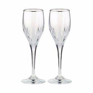 Mikasa® Flame D'amore Platinum Set of 2 Platinum Crystal Wine Glasses