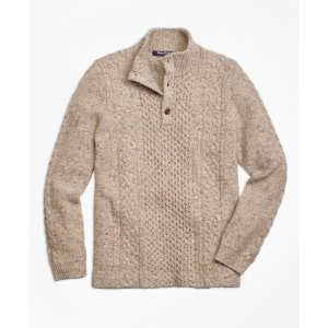 Wool Fisherman Cable Mockneck Sweater - Brooks Brothers