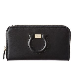 Salvatore Ferragamo Gancio Leather Zip Around Wallet