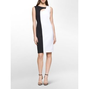 colorblock cut-out sheath dress | Calvin Klein
