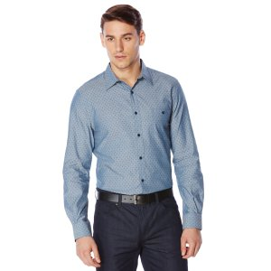 Printed Chambray Shirt - Perry Ellis
