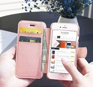 $3.9Iphone 6 6s 玫瑰金皮质钱包式手机壳