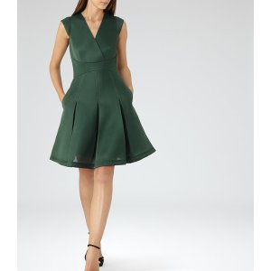 Riviera Fern Textured Scuba Fit And Flare Dress - REISS