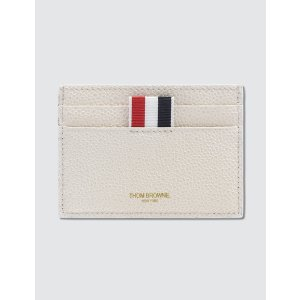 Thom Browne - Pebble Grain and Calf Leather Single Card Holder with Directional Color Block & RWB Diagonal Stripe   HBX