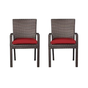 Hampton Bay Beverly Patio Dining Arm Chair with Cardinal Cushion (2-Pack)-65-23311A - The Home Depot