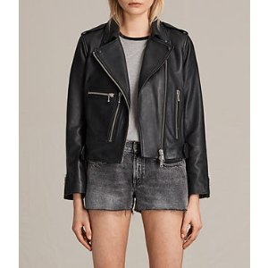 ALLSAINTS US: Womens Milne Leather Biker Jacket (Black)