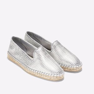 Womens Rielle Espadrilles in Silver Patent Perf | Cole Haan