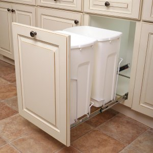 Knape & Vogt 14.375 in. x 22 in. x 18.813 in. 35 Qt. In-Cabinet Double Soft-Close Bottom-Mount Pull-Out Trash Can-SCB15-2-35WH - The Home Depot