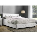 DHP Dakota Faux Leather Tufted Upholstered Platform Bed with Headboard and Side Rails, Queen