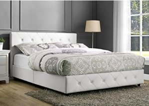$138.6DHP Dakota Faux Leather Tufted Upholstered Platform Bed with Headboard and Side Rails, Queen