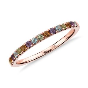 Multi-Gemstone Pavé Ring in 14k Rose Gold (1.5mm) | Blue Nile