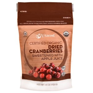 Vitacost Certified Organic Dried Cranberries Sweetened with Apple Juice -- 4 oz (113 oz) - Vitacost