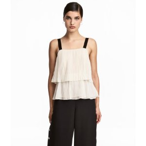 Pleated Chiffon Camisole Top