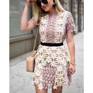 3D Floral Lace Peplum Dress