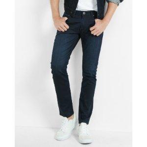 Skinny Dark Wash Coated Stretch Jeans | Express