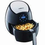GoWISE USA GW22621 4th Generation Electric Air Fryer, Black, 3.7 QT, 1400W + Recipe Book