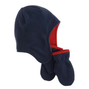 Jacob Ash Puffin Down Contrast Fleece Cap and Mittens Set (For Infants) - Save 89%