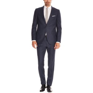 Windowpane Italian Super 120 Virgin Wool Suit, Slim Fit | Novan/Ben