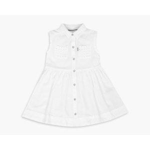 Little Girls (4-6x) Rolled Short Sleeve Eyelet Woven Dress | White with Eyelet |Levi's® United States (US)