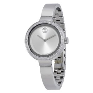 Bold Silver Dial Stainless Steel Ladies Watch