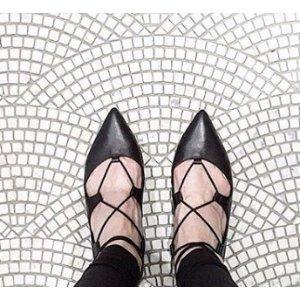 Loeffler Randall - Ambra Leather Lace-Up Flats - saks.com