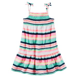 Toddler Girl Neon Striped Jersey Dress | Carters.com