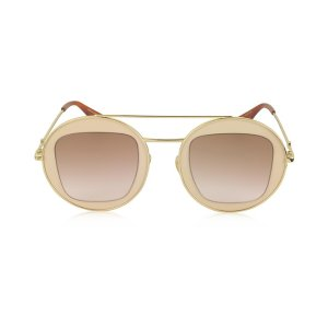 Gucci 						GG0105S Metal Round Aviator Women's Sunglasses