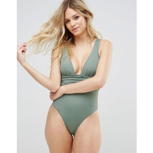 ASOS FULLER BUST Gathered Waist Band Swimsuit DD-G