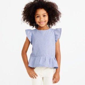 Girls' striped flutter-sleeve top