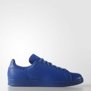 adidas Originals Men's Stan Smith Perforated Leather Blue Athletic Sneakers | eBay