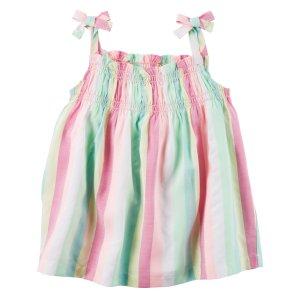 Baby Girl Neon Striped Tie Tank | Carters.com