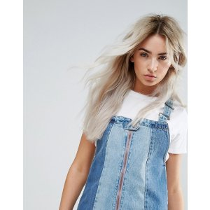 Urban Bliss Petite | Urban Bliss Petite Deconstructed Tonal Paneled Mini Denim Dress With Distressed Hem