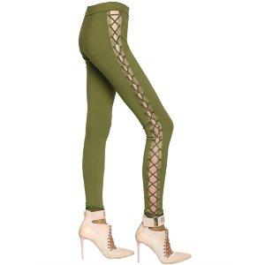 FENTY X PUMA - LACE-UP JERSEY LEGGINGS WITH SATIN TRIM - PANTS - OLIVE GREEN - LUISAVIAROMA