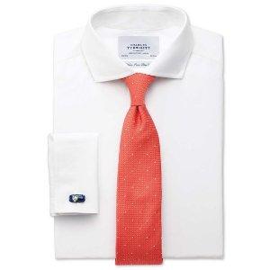 Extra slim fit spread collar non-iron poplin white shirt | Charles Tyrwhitt