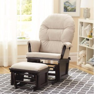 $99Shermag Aiden Glider and Ottoman Set - Espresso with Beige Fabric