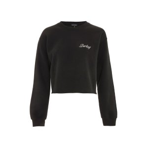 'Darling' Slogan Cropped Sweatshirt - Clothing