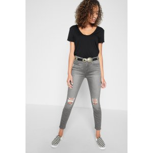 b(air) The Highwaist Ankle Skinny with Knee Holes in Chrysler Grey - 7FORALLMANKIND