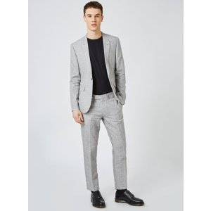 Gray Check Skinny Fit Suit