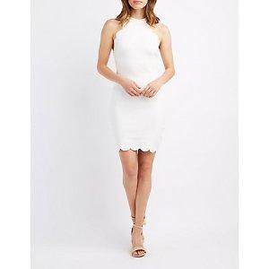 Scalloped Bib Neck Bodycon Dress | Charlotte Russe