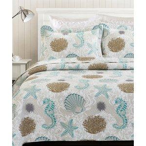 Blue & Beige Ocean Florence Quilt Set