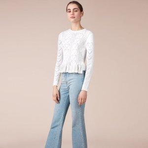 MALICE Frilled jacquard knit sweater
