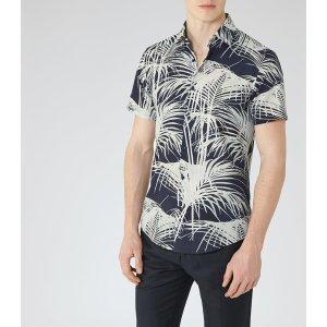 Mccawly Navy Palm Print Shirt - REISS