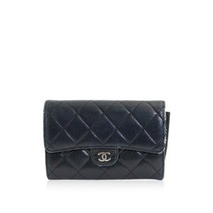 CHANEL lambskin Matelasse Bifold Wallet with Coin Pocket