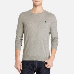 Polo Ralph Lauren Men's Cotton Blend Long Sleeve Sweater - Grey Heather