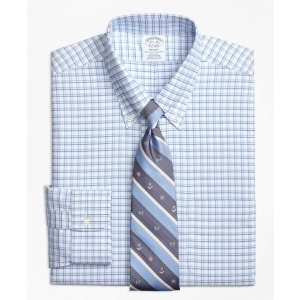 Non-Iron Regent Fit BrooksCool® Framed Shadow Check Dress Shirt - Brooks Brothers