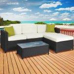 Cushioned 5PC Rattan Wicker Aluminum Frame Sectional Sofa Set