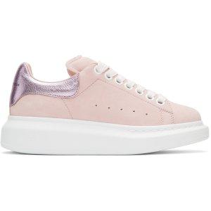 Alexander McQueen: Pink Suede Oversized Sneakers