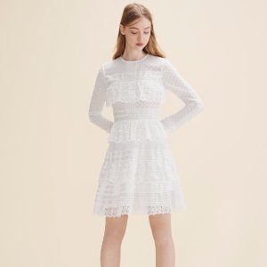 RANCHE Embroidered dress with frills - Dresses - Maje.com